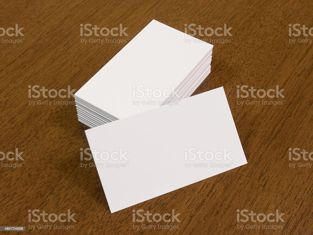Empty Business Cards On A Wooden Desk Background Stock Photo   Download  Image Now