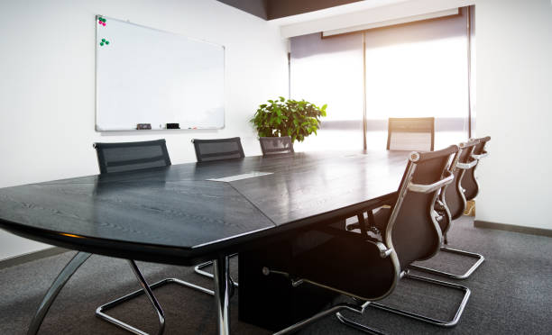 Empty business conference room interior stock photo
