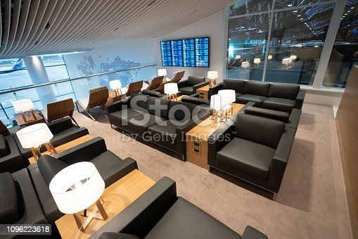 Empty business lounge at the airport - travel concepts