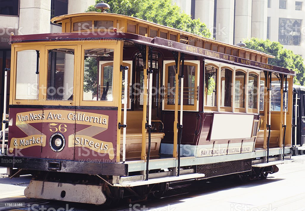 Empty cable car parked on San francisco city royalty-free stock photo