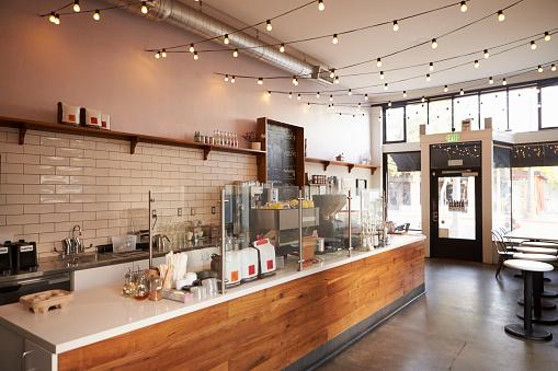 Empty cafe or bar interior, daytime