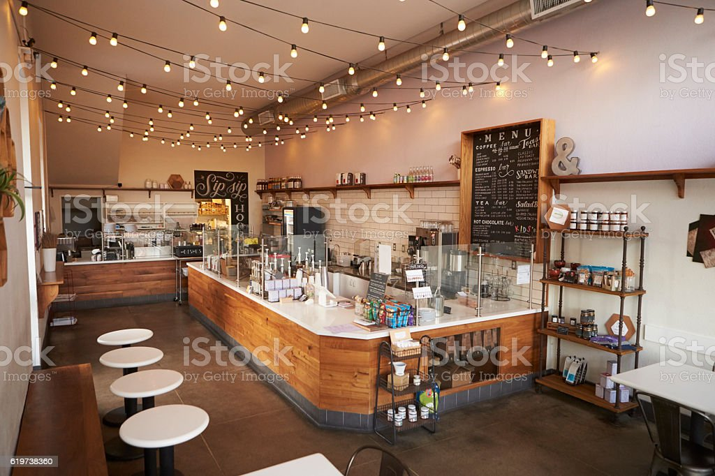 Empty cafe or bar interior, daytime - foto stock