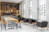 istock Empty Cafe Or Bar Interior 1255064231
