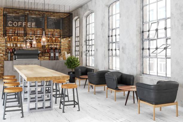 leeres cafe oder bar innenbereich - coffee shop stock-fotos und bilder