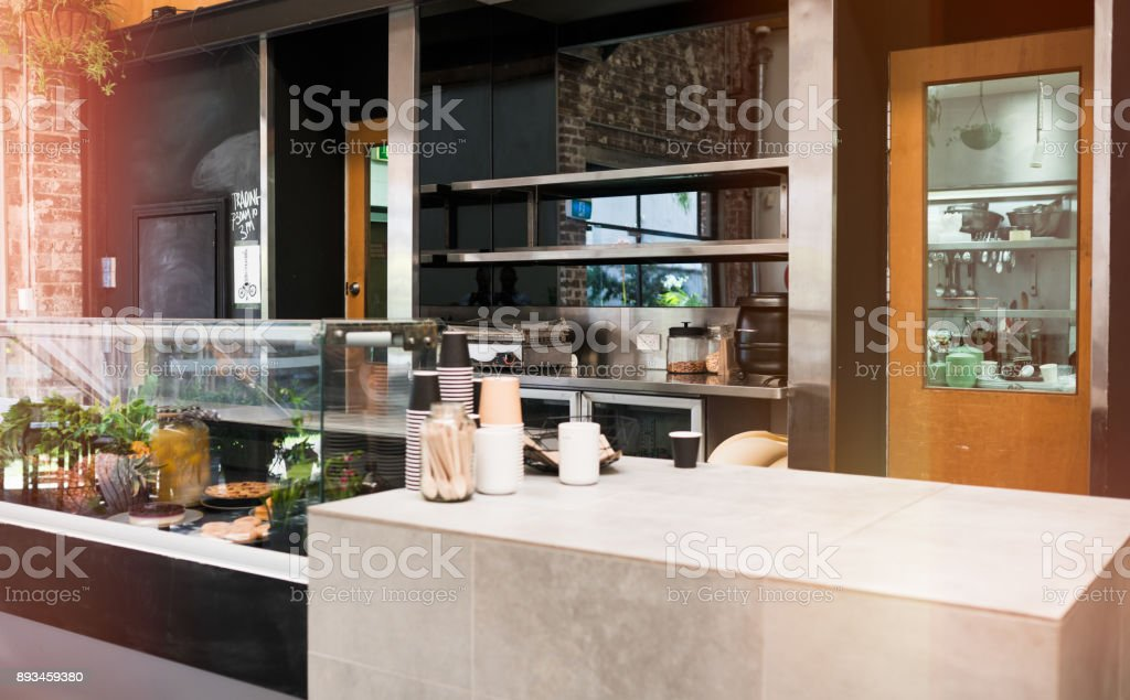 Empty cafeteria. stock photo