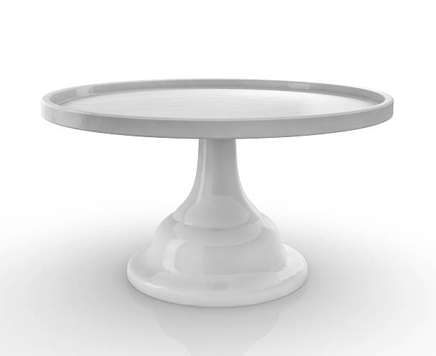 Empty Cake Cookie Stand on White Background empty cake stand on white background. photo-realistic render, 3d visualization cakestand stock pictures, royalty-free photos & images