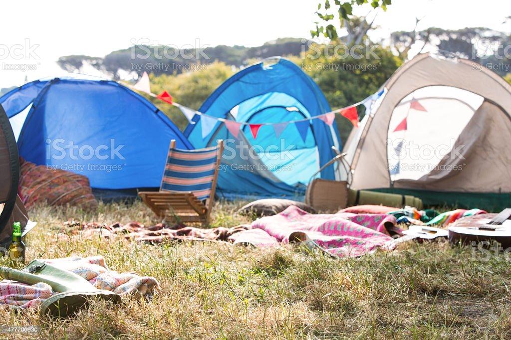 Empty campsite at music festival stock photo