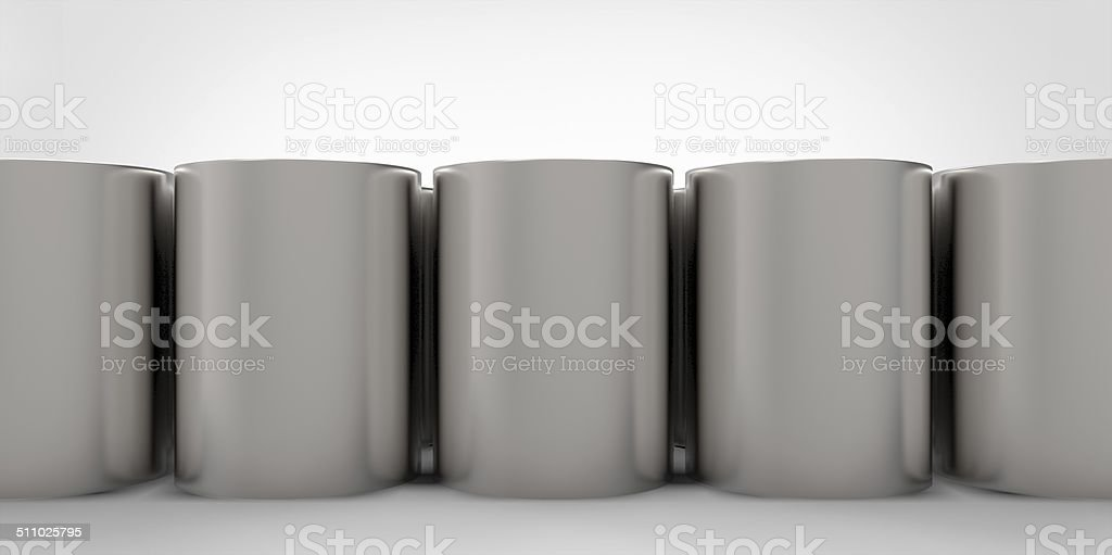 3D empty cans on white background paint stock photo