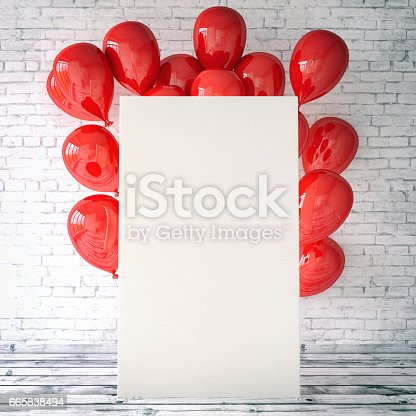 Empty artist's canvas with red balloons against brick wall