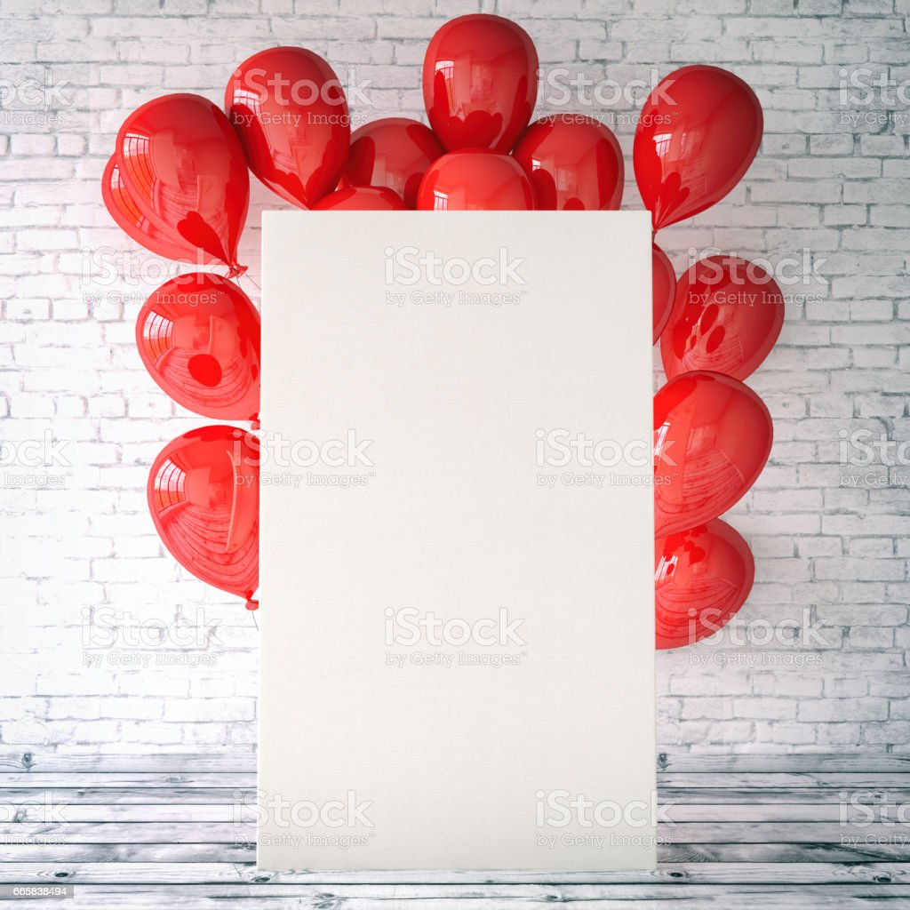 Empty Canvas with Balloons stock photo