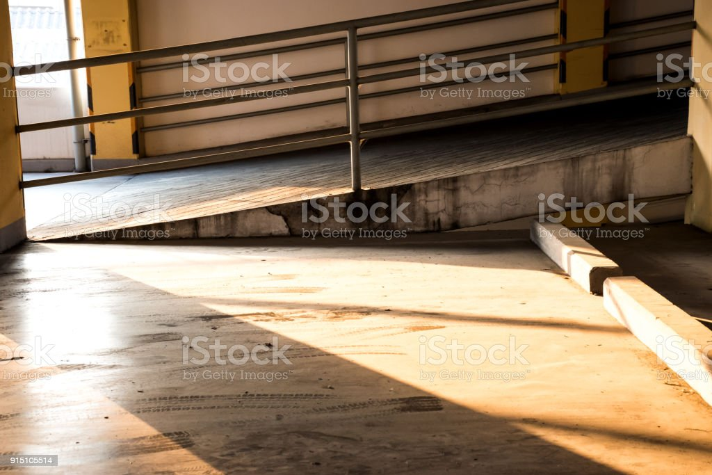 Empty Car Parking Garage With Tire Tracks Stock Photo More - Garage floor tracks
