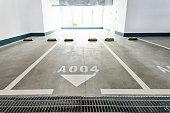 Empty car parking lots in modern building.