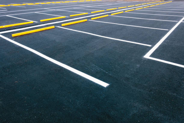 Empty car parking lots, Outdoor public parking. stock photo