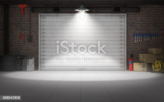 istock Empty car repair garage background. 3d rendering 538342926