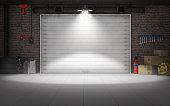 istock Empty car repair garage background. 3d rendering 538342926