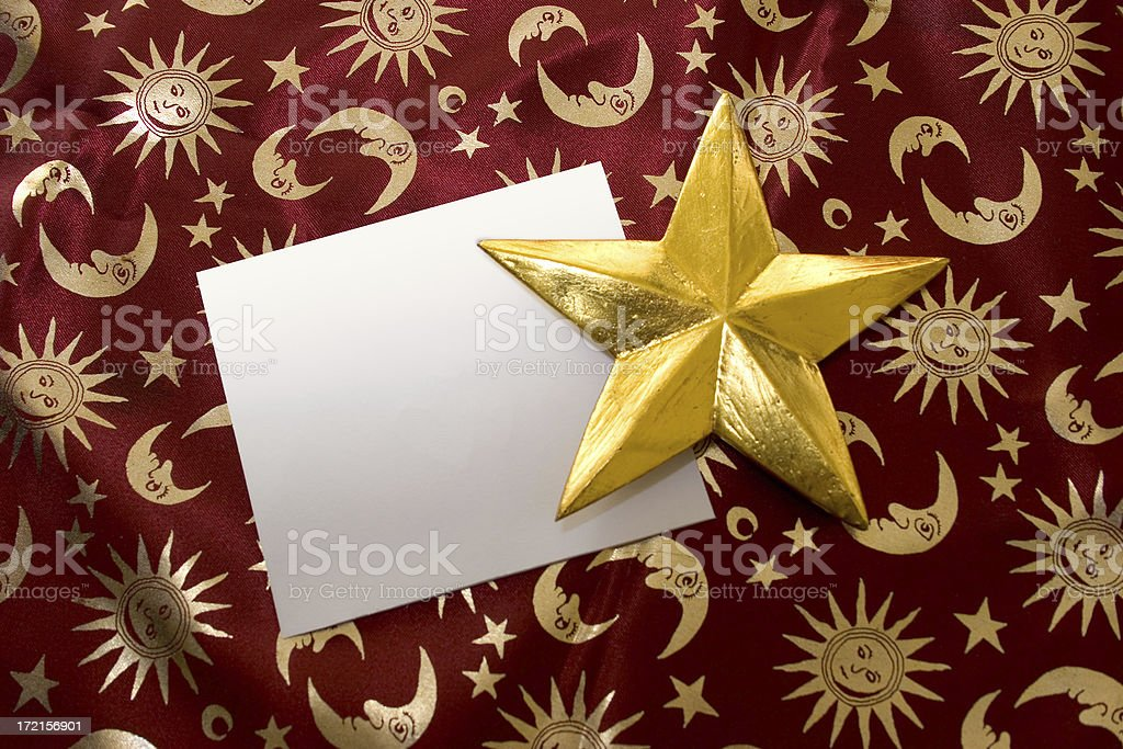 Empty card and a golden star royalty-free stock photo