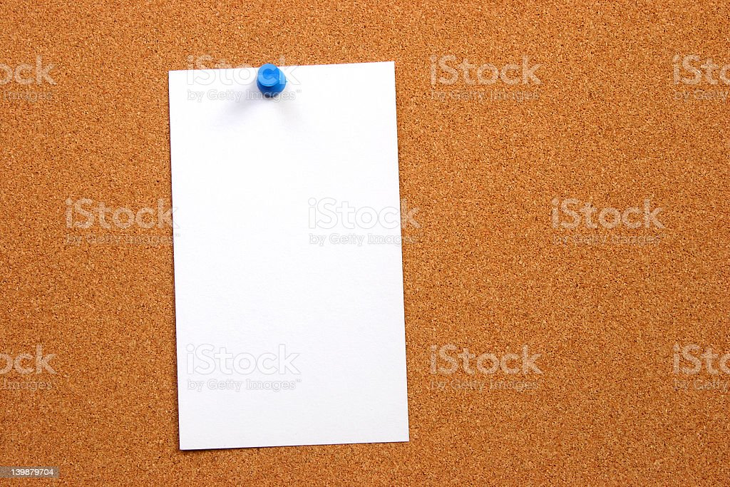 Empty card on a board vertical with space royalty-free stock photo