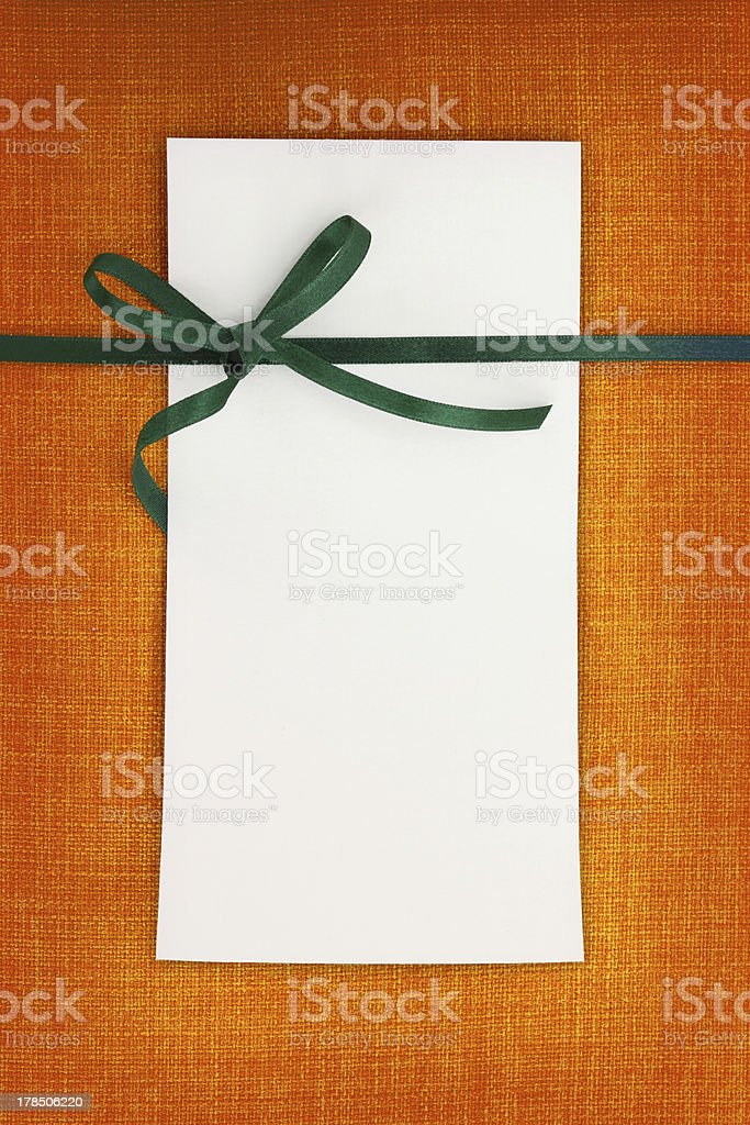 Empty card on fabric texture background royalty-free stock photo