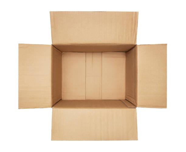 leere karton-box, isoliert auf weiss - flächeninhalt stock-fotos und bilder