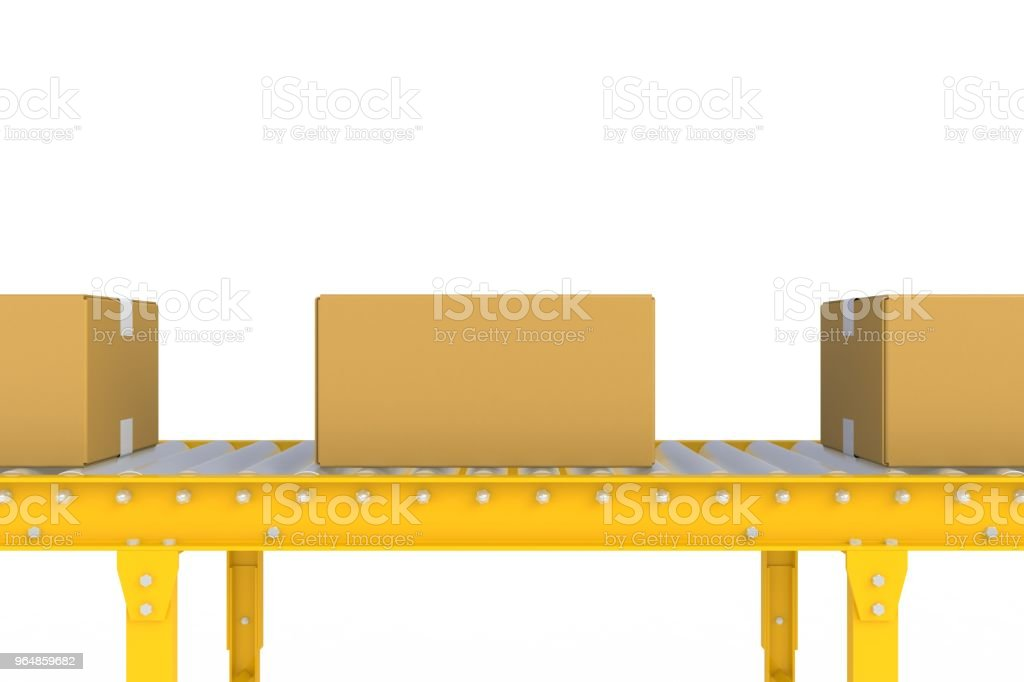 Empty cardboard box on yellow conveyor line isolated on a white background, Delivery concept, 3d rendering royalty-free stock photo