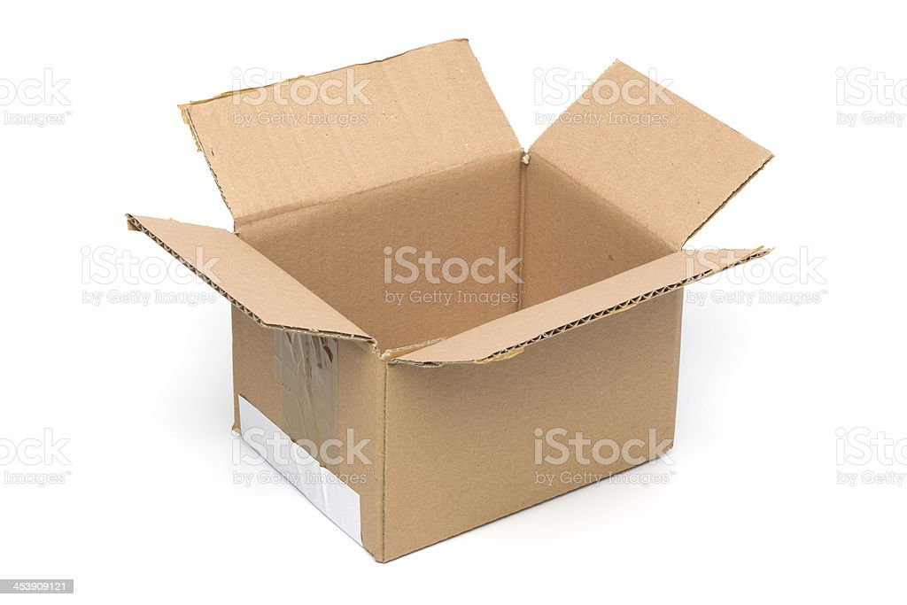 Empty Cardboard Box, Open, Isolated on White royalty-free stock photo