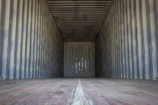 empty cargo containers for export products or transportation. - container foto e immagini stock