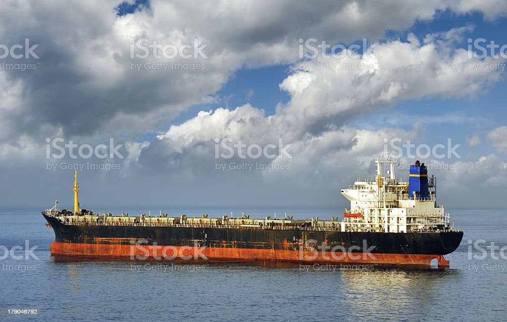 Empty cargo ship stock photo