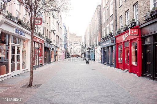 The streets of London, UK are almost completely empty following government advice for residents to stay at home and social distance. Most non-essential businesses have shut down.