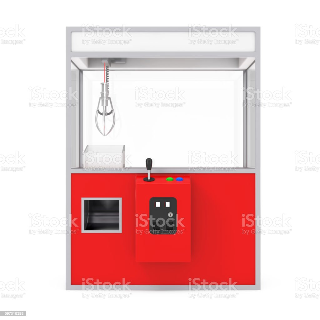 Empty Carnival Red Toy Claw Crane Arcade Machine. 3d Rendering stock photo