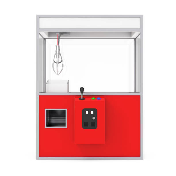 Empty Carnival Red Toy Claw Crane Arcade Machine. 3d Rendering Empty Carnival Red Toy Claw Crane Arcade Machine on a white background. 3d Rendering. claw stock pictures, royalty-free photos & images