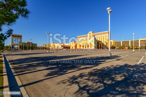 Las Vegas, Nevada, USA - April 19, 2020: Empty casinos in Las Vegas under Coronavirus outbreak. All hotels and casinos are ordered to close until end of April 2020. It is first time in Las Vegas history with empty street like this. This street is always filled with tourists from all over the world.
