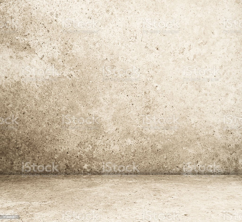 Empty cement room in perspective background stock photo
