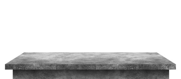 Empty cement table with stone pattern isolated on pure white background. Concrete desk and shelf display board with perspective floor. ( Clipping path ) stock photo