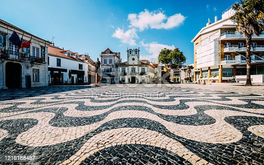 Empty Central square 5th October in Cascais with statue of Dom Pedro I. Cascais is famous and popular summer vacation spot for Portuguese and foreign tourists.