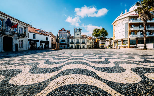 Empty Central square 5th October in Cascais, Portugal stock photo