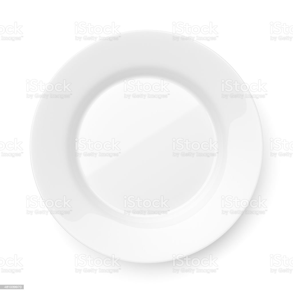 Ronde en céramique vide plateau isolé sur blanc - Photo