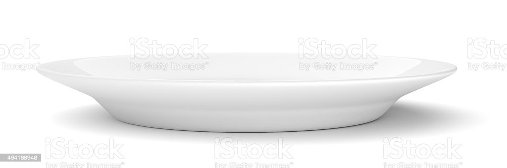 Empty ceramic round plate isolated on white stock photo
