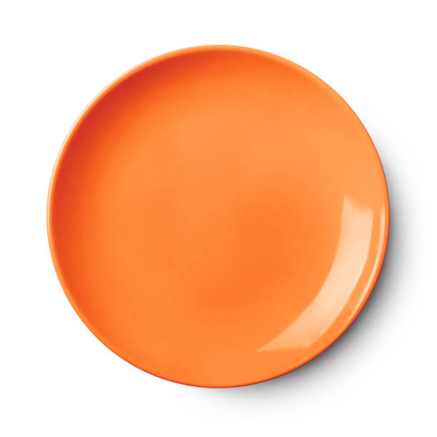 Empty ceramic round plate isolated on white stock photo