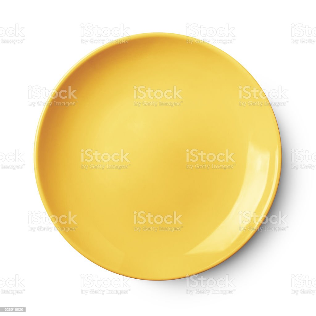 Empty ceramic round plate isolated on white with clipping path - Photo