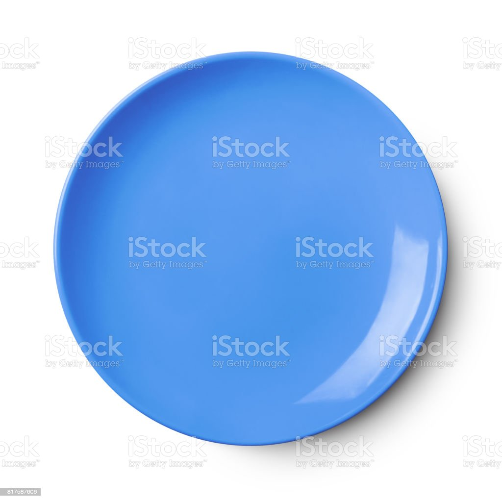 Empty ceramic round plate isolated on white with clipping path stock photo