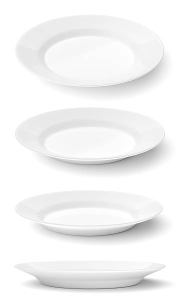 empty ceramic round plates isolated on white - plate stock pictures, royalty-free photos & images