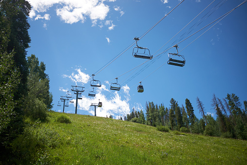 Empty chair lift in Vail, Colorado in summer