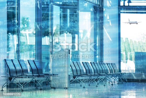 istock Empty chairs in the departure hall at airport . 1038691220