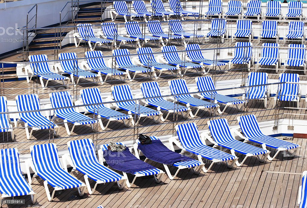 Empty Chairs on Cruise Ship royalty-free stock photo