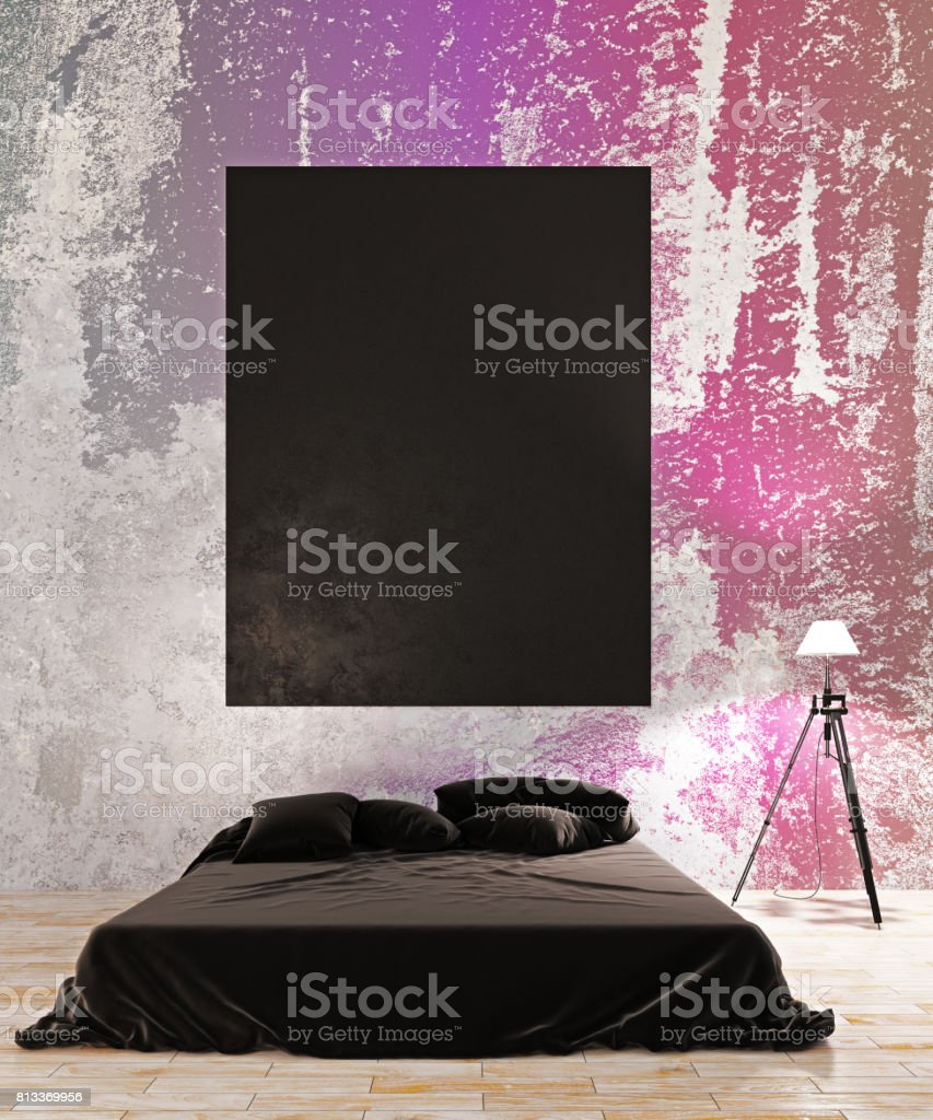Empty chalkboard in creative bedroom interior stock photo