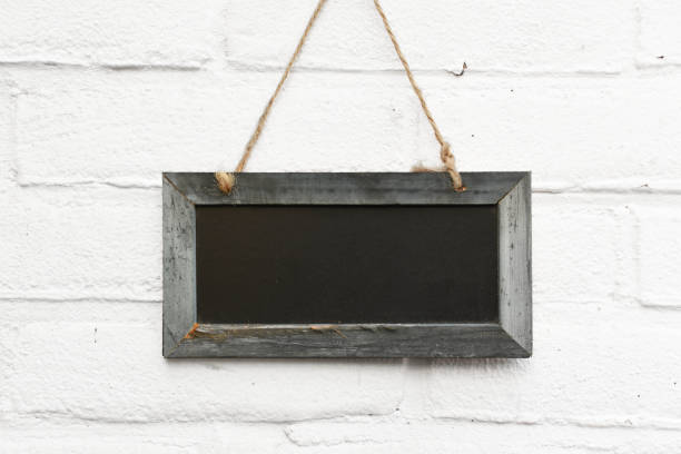 Empty chalkboard with space for own text hanging stock photo