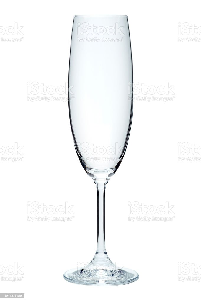 Empty champagne flute, isolated on a white background royalty-free stock photo