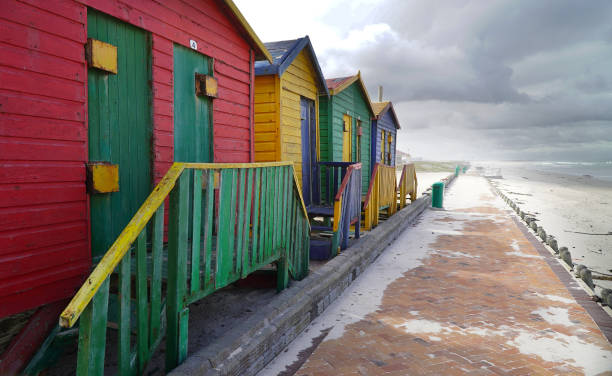 Empty changerooms and beach at Muizenberg in Cape town, South Africa during the lock down. stock photo