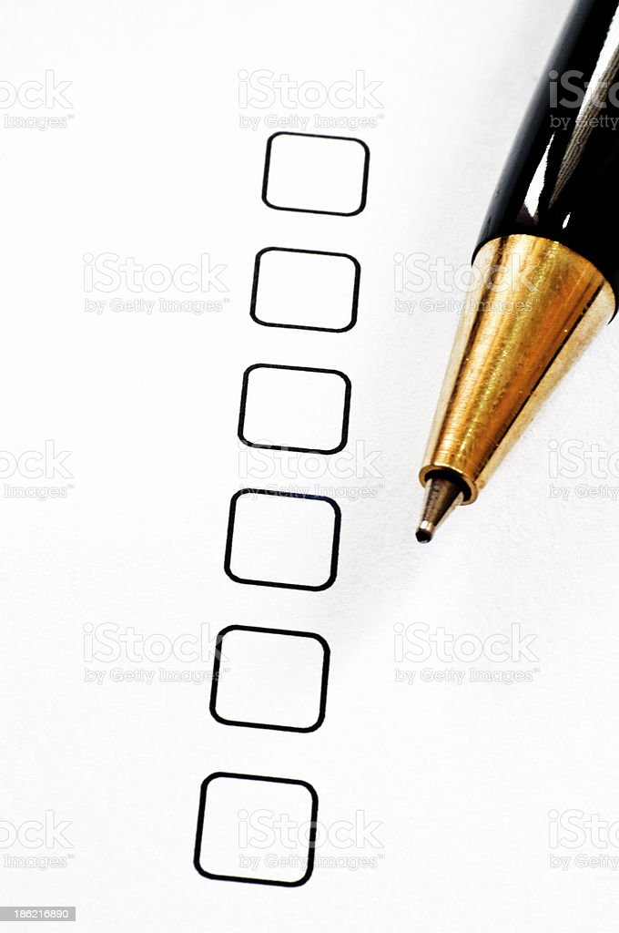Empty checkbox with pen stock photo
