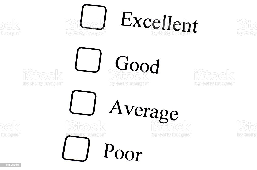 Empty checklist with Excellent to Poor option royalty-free stock photo